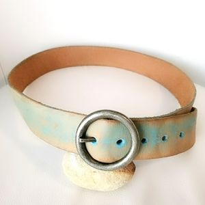 Gap Faded Blue Wide Leather Belt Size Medium